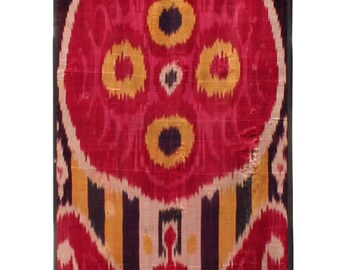 Ikat Panel Old Ikat Hanging Old Ikat Fabric Wall Hanging Vintage Hanging Uzbek Ikat Panel 1.35' x 7.35' FAST SHIPMENT with ups - 09341