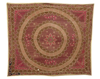 7.38' x 8.69' Vintage Suzani Old Embroidery Suzani Wall Hanging Uzbek Suzani Table Cover Ethnic Suzani FAST SHIPMENT with ups - suzani-182