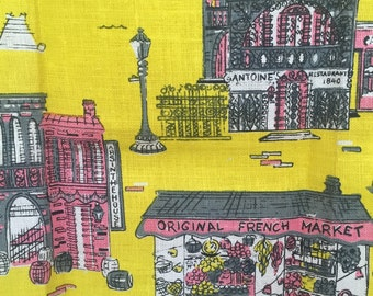 1960s Vintage, new condition, New Orleans kitchen dish towel, Crescent City