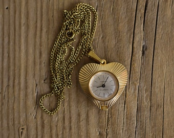 Swiss Ladies Pendant Watch EURASTYLE, Vintage Necklace Swiss Mechanical Hand-winding Watch Eurastyle, Made in 1970's