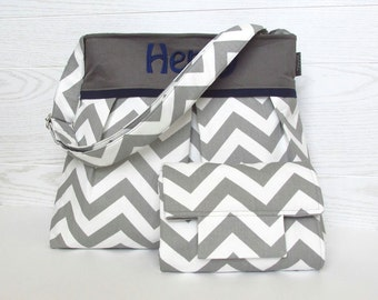 Monogrammed Chevron Diaper Bag Set in Gray and Navy Blue Or Design Your Own with Matching Changing Pad