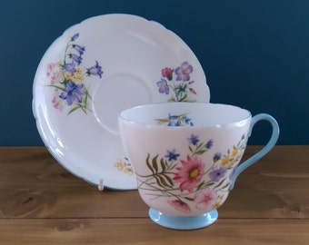 Vintage Shelley Tea Cup and Saucer in the Wild Flower Pattern