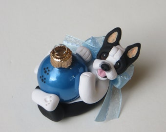 Boston Terrier Dog Christmas Ornament Polymer Clay Glass Ball