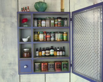 Kitchen Storage Cabinet-Rustic Wall Cabinet - With Ornate Sheet Metal Door and Drawer - Handmade Rustic Furniture - MADE to ORDER