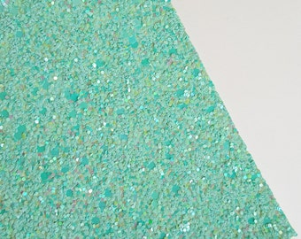 SALE 8x11 Seafoam Chunky Glitter Fabric Sheet