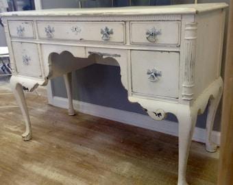 Classic Shabby White Five Drawer Desk or Vanity
