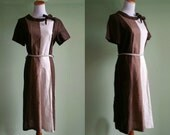 1960's Mod Color Block Dress - Vintage 60's Medium / Large Dress - 3 Shades of Brown Dress