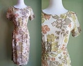 1950s Botanical Gardens Dress - Earth Tone Wiggle Dress - Floral Linen Dress - /Large