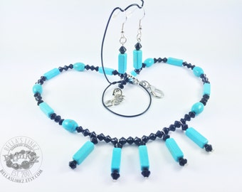 Blue Magnesite Necklace and Earring Set