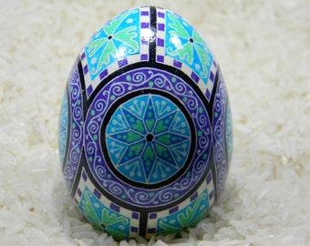 Blue Mandalas Pysanky Egg