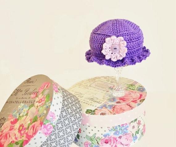 Purple Baby Hat - Baby Girl Purple Cloche - Newborn Girl Purple Brimmed Hat - Infant Girl Ruffled Brim Baby Hat - Newborn Hat with Flower