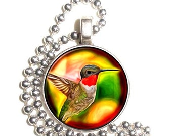 Ruby Throated Hummingbird Art Pendant, Bird Photo Painting Resin Pendant, Silver Nickel Coin Charm Necklace