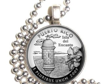 Puerto Rico Art Pendant, Earrings and/or Keychain USA Quarter Dollar Image, Round Photo Silver and Resin Charm Jewelry