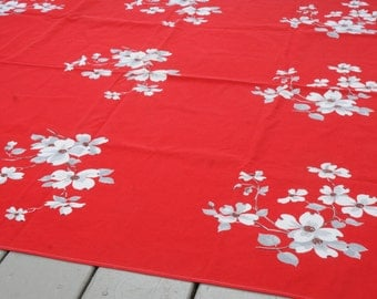 Mid Century Tablecloth Dogwoods Red