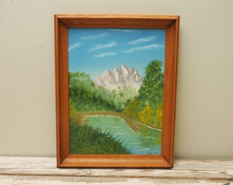 Original Painting Mountains Stream Signed Wooden Frame