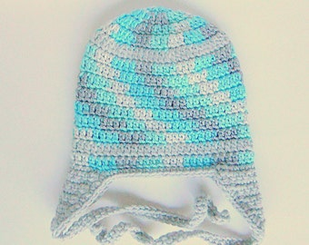 Toddler Boy  Hat With Ear Flaps And Ties Aqua And Grey  2 To 5 Years  Girl Cap Gray And Turquoise  Winter Beanie