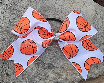 """2.25"""" x 6"""" x 6"""" Basketball Sports Cheer Bow with Glittered Basketballs on White"""