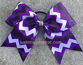 """3"""" Width Cheer Bow 7""""x7"""" Texas Size Cheer Bow Purple Black and White Glittered Chevron"""