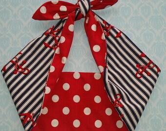 anchor red, nautical 50s style bandana, rockabilly pin up psychobilly tattoo hairband headband