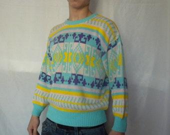 Vintage 80s Pastel Grunge Sweater Jacquard Fair Isle Jumper Pink Blue Yellow Mens Medium