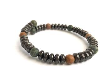 Men's Bracelet, Hematite and Serpertine Gemstone for Him, Father's Day gift