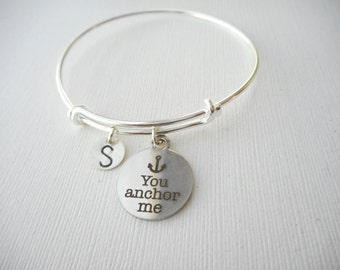 You Anchor Me- Initial Bangle/ Thank you, Couples Jewelry, Boyfriend Girlfriend gift, Gift for her, Hers, Girlfriend Gift, Wife Gift