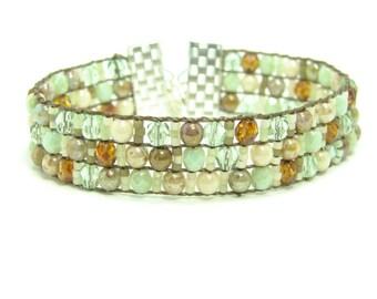 Green Beaded Southwest Bracelet, Loomed Tapestry Cuff Bracelet, Green Mix Beaded Boho Cuff Bracelet, Southwest Style Bracelet