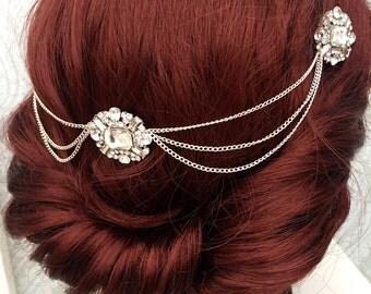 Hair chain headpiece - Art deco Head chain - bridal hair chain - Hair accessory - Gatsby headdress