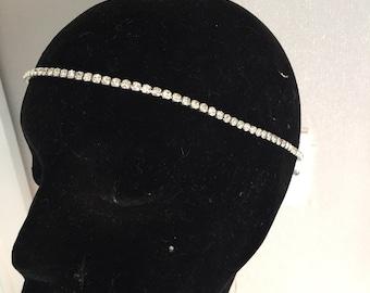 Bridal headband - Crystal headband - silver headdress - Ribbon tie headband - hair accessories - Bridal headdress - Hair jewellery