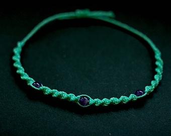 Waxed thread friendship bracelet with amethyst
