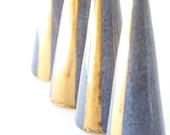 Modern Ceramic Ring Cone Holder Storage Jewelry Organization Display: Blue Gold Stripe