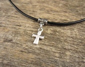 Small Cross Charm Necklace, Danty Cross Pendant On Leather Necklace, Womens Christian Charm Jewelry