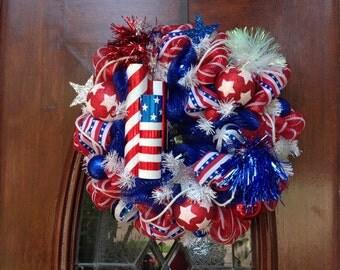 Metal Fireworks Patriotic Wreath