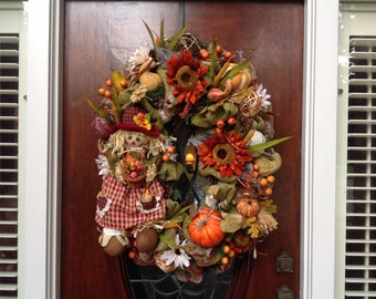 Large Oval Girl Scarecrow Wreath
