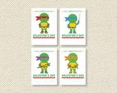 Kids Valentine Card - teenage mutant ninja turtle valentine - instant download - DIY PRINTABLE