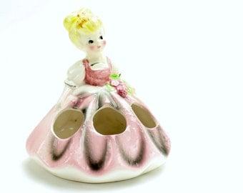 Vintage Ceramic Lipstick Holder, Lego Lipstick Girl, Pink Lipstick Girl, 1950s Vanity, Pink Dress with Flowers,  Dressing Table, Epsteam