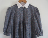 Vintage Prairie Floral Print Puff Sleeve Maternity Dress with Peter Pan Collar M L