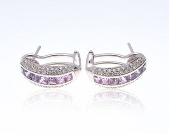 Multicolor Pink to Purple Sapphire & Diamond 18K Gold Earrings (2.24ct tw): SKU 22687