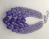 1960s Vintage MULTI STRAND Beaded Necklace Bluish Purple CLEAR Plastic Beads Lucite