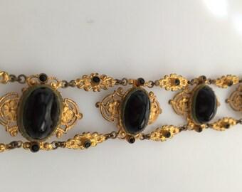 1930s Vintage CZECH Bracelet VICTORIAN Revival Gilded Brass & Glass Bracelet Made in CZECHOSLOVAKIA
