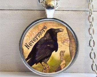 Raven Necklace, Poe's Raven Nevermore, Nevermore Pendant, Goth Jewelry