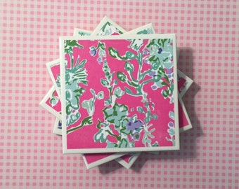 Coasters: Lilly Pulitzer Southern Charm Flower Pattern, Pink, Blue, Green, Purple, White, Felt-Backed, Set of Four, Tile