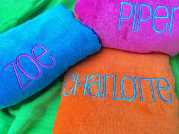 "Plush Beach Towel 30"" x 60"" / Personalized Beach Towels / Monogram Beach Towel / Bridesmaid Gift / Pool Party Favor / Graduation Gift"