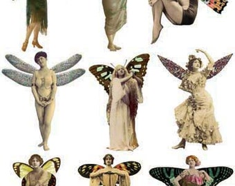 9 Lovely FAIRIES/ ANGELS - Vintage and Handmade Style - Winged Women - INSTANT Printable Digital Collage Sheet