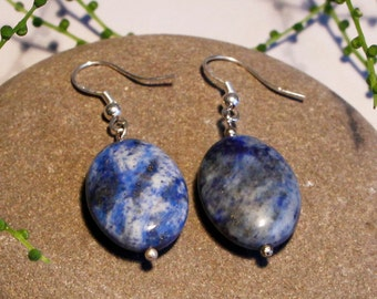 Lapis Lazuli Silver Earrings Free Worldwide Shipping