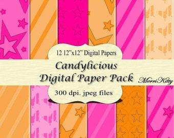 "ON SALE 65% OFF Pink and Orange Digital Papers - Digital Scrapbook Paper Pack - No.58 - 12 12""x12"" Digital Papers - Card Making - JPEGs - Co"