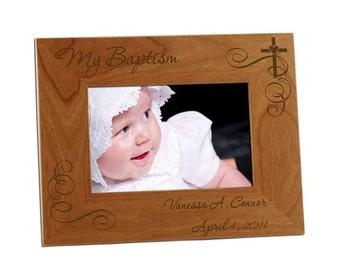 Engraved Baptism Wooden Photo Frame