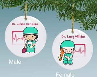 Personalized Surgeon Animated Ceramic Ornament