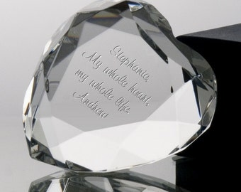 Engraved Crystal Heart Paperweight