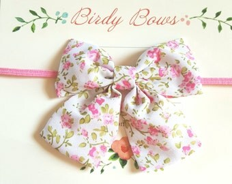 Pink Floral Bow Headband, Baby Headbands, Baby Girl Headbands, Baby Girl Headbands, Infant Headbands, Baby Bows